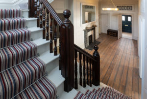 Self Catering Holiday Cottages, Woolacombe, Devon - Original stairway and front door of Memory House